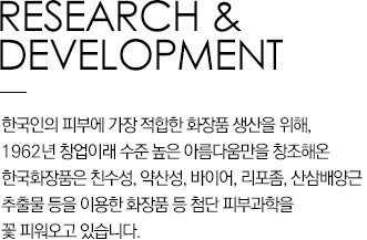 Research & Development Hankook Cosmetics Co. Ltd. has been helping to attain the best beauty by producing the most suitable cosmetics for the skin of Koreans since its founding in 1962. It is helping to usher in a new era of skin science in cosmetics by using water soluble, weak acidic, bio, liposome, and Panax Ginseng Cell Culture Extract.